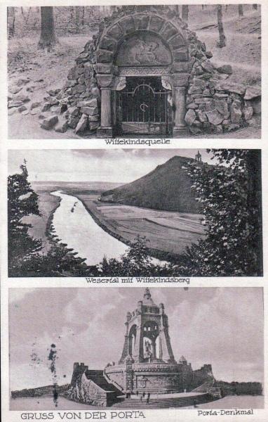 Wittekindsquelle, Wesertal mit Wittekindsberg, Porta-Denkmal