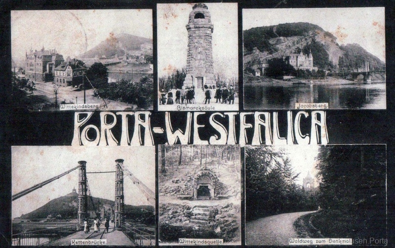 Porta Westflalica, Wittekindsberg, Bismarcksäule, Jakobsberg, Kettenbrücke, Wittekindsquelle, Waldweg zum Denkmal.