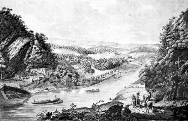 Alter Stich der Porta Westfalica mit Flößen